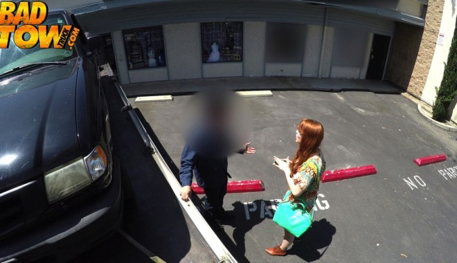 Redhead not happy her car is getting repossessed